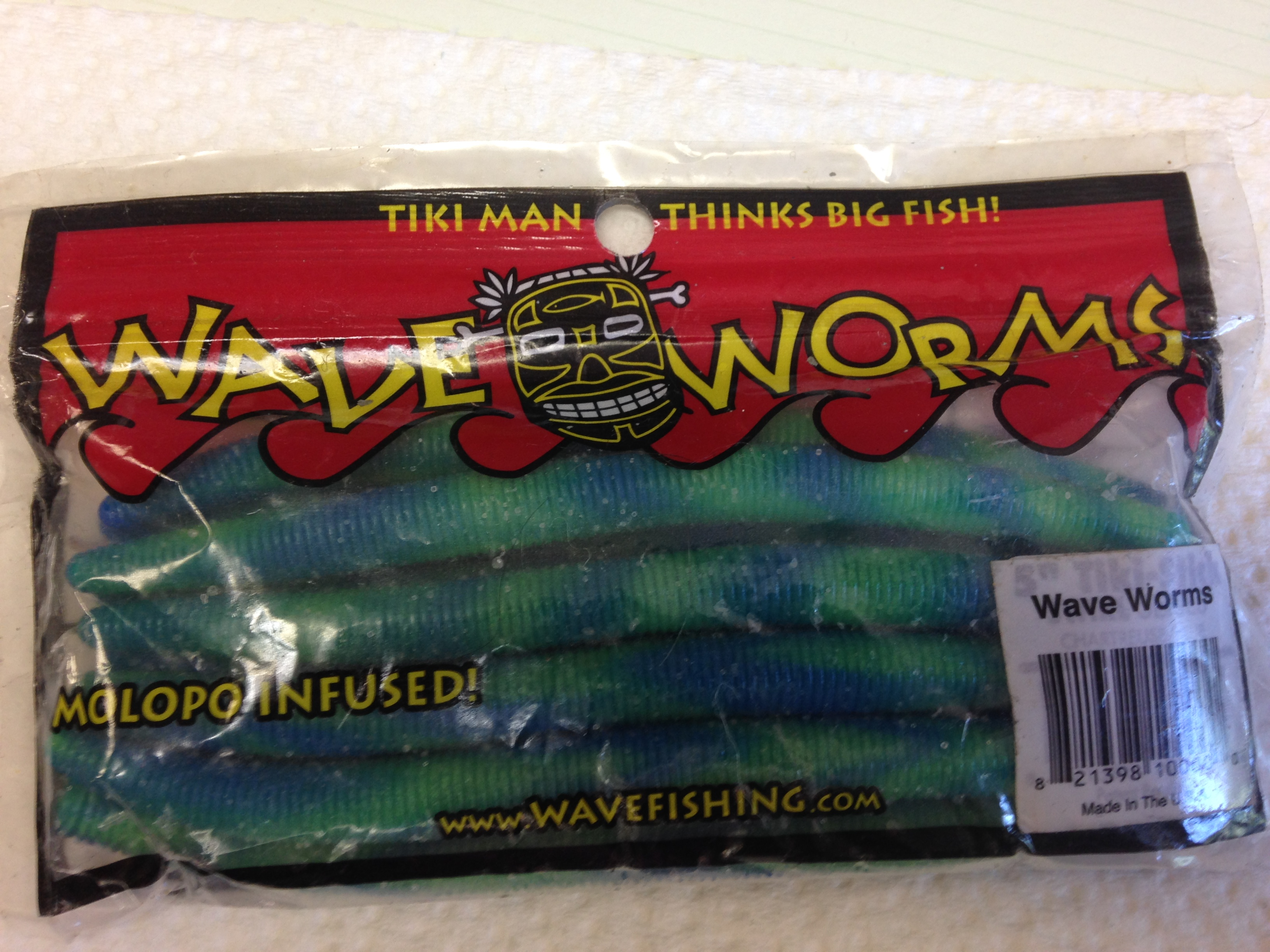TIKI MAN WAVE WORMS CHARTREUSE/BLUE